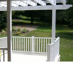 vinyl deck, railing, and canopy